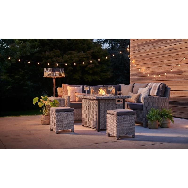 Kettler Palma Casual Dining Mini Corner Sofa + Mini Fire Pit Table- Rattan