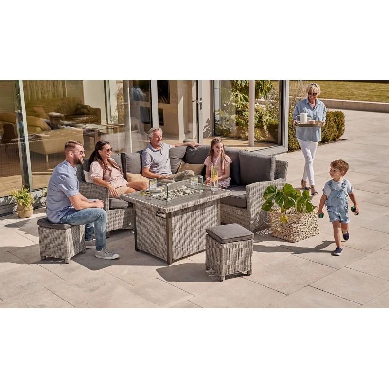 Kettler Palma Casual Dining Mini Corner Sofa + Mini Fire Pit Table- White Wash