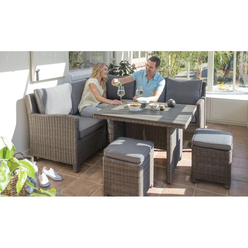 Kettler Palma Casual Dining Mini Corner Sofa + Mini Dark Oak Slat Table - Rattan